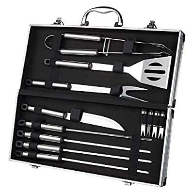 BBQ Grill Tools with Carrying Case - Stainless Steel Tools - Complete Barbeque Kit - with Tongs, Spatula, Fork, Knife, Corn Holders, Skewers - 12 Piece Set by Juvale