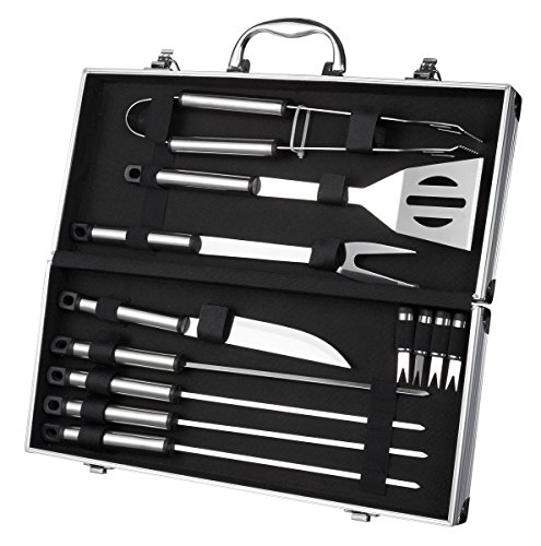 Mini Bbq Grill - Juvale BBQ Grill Tools with Carrying Case - Stainless Steel Tools - Complete Barbeque Kit - with Tongs, Spatula, Fork, Knife, Corn Holders, Skewers - 12 Piece Set