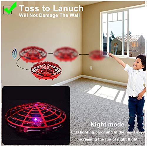 UFO Flying Ball Toys, Gravity Defying Hand-Controlled Suspension Helicopter Toy, Infrared Induction Interactive Drone Indoor Flyer Toys with 360° Rotating for Kids, Teenagers Boys Girls (Red) by ZD-SPORT (Image #4)