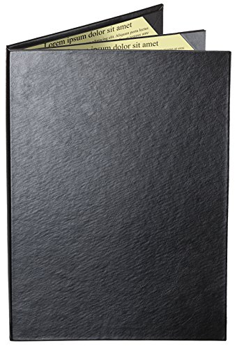 Menu Covers by MenuCoverMan • Case of 5 Cascade Casebound Menu Covers #8041 BLACK TRIPLE PANEL - 4-VIEW - 8.5'' WIDE x 14'' TALL - WATERFALL EDGE. Interior album-style corners. 10 cases=FREE IMPRINT. by MenuCoverMan