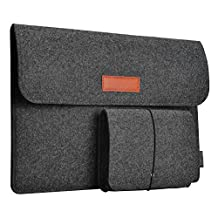 dodocool Laptop Felt Sleeve Envelope Cover Ultrabook Carrying Case with Mouse Pouch (Dark Gray 12 inch)