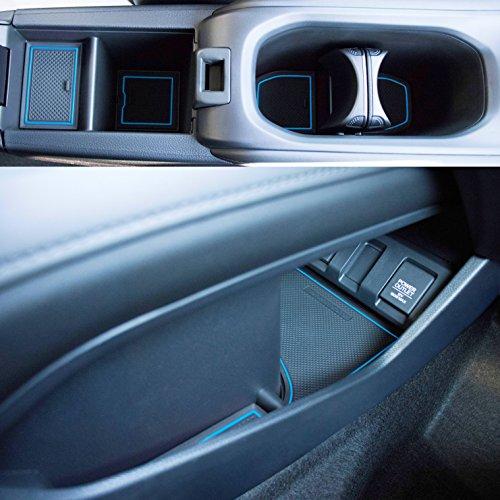 Custom Fit Cup Holder and Door Liner Accessories for 2018 2017 2016 Honda HR-V 18-pc Set (Blue Trim)