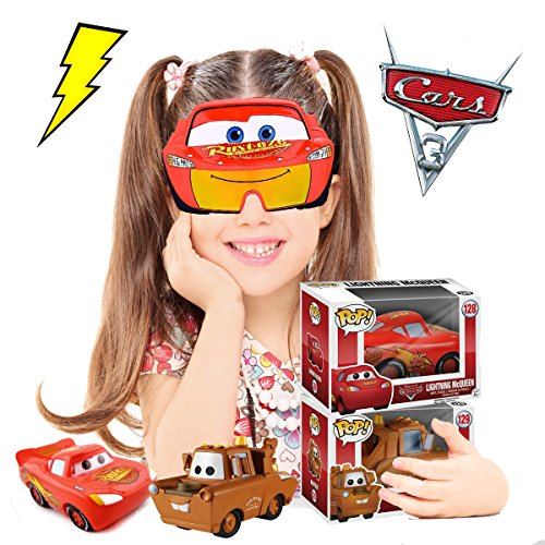 Disney Pixar Cars 1 2 3 Characters Lightning McQueen and Tow Mater Funko Pop Vinyl Diecast Figures and Cool Funny Novelty Big Kids Child Sunglasses Party (Chuck And Larry Halloween)