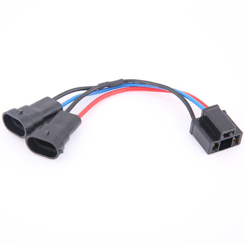 TRUCKMALL H4 to H9/H11 Wire Harness Adapter for Dual Beam Headlights on