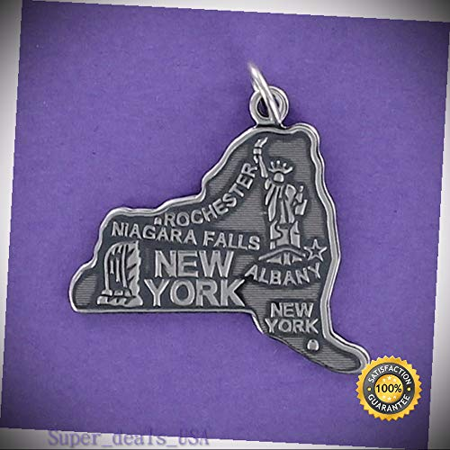 New York State Charm Sterling Silver for Bracelet Upstate Big Apple Albany NY DIY Handmade Ornament Crafts