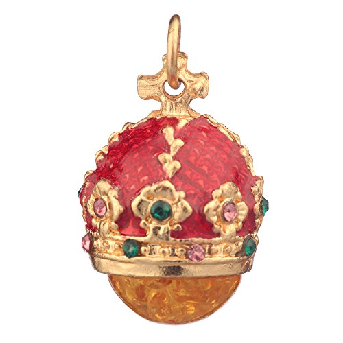 (danila-souvenirs Russian Faberge Style Egg Pendant/Charm Crown with Crystals 0.9'' red #0801-05)