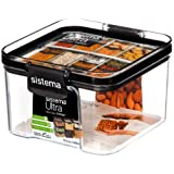 Sistema Tritan Ultra Collection Square Storage Container,  1.9 Cup/15.5 oz., Clear with White/Gray