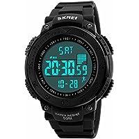 SKMEI Reloj Deportivo con Pantalla Digital Resistente al Agua Retroiluminado con Funciones de Salud Cronómetro y Alarma. Podómetro Contador de Calorías Medidor de Distancia Modelo 1238. Negro