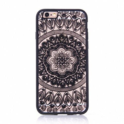 König-Shop Handy Hülle Mandala für Apple iPhone 7 Design Case Schutzhülle Motiv Kreis Cover Silikon Tasche Bumper Schwarz