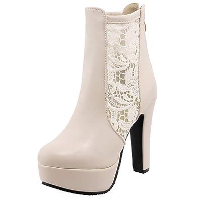 YE Bottes Chaude Lacees Bottine Dentelle Femme Plateformme Talon Haut Bloc  Ankle Boots Woman Chunky Heels 47b6f5a5e808
