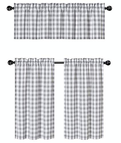 3 Pc. Plaid Country Chic Cotton Blend Kitchen Curtain Tier & Valance Set - Assorted Colors (Grey) (Cafe Curtains Gray)
