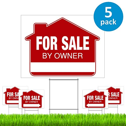 For Sale By Owner Yard Sign (5 Pack) - PRO Home For Sale Sign Kit With 5 Double-Sided Real Estate Signs & 5 Heavy Duty Yard Stakes (Large 18