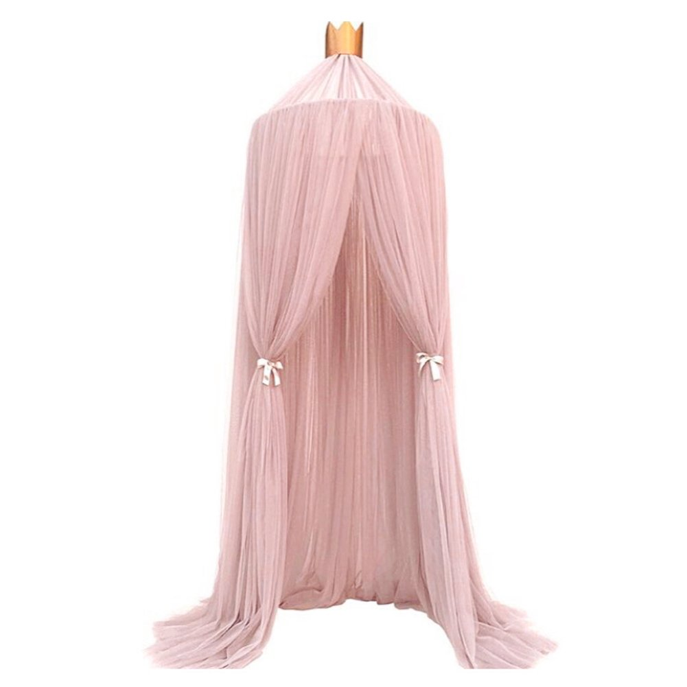 Luerme Dome Fantasy Champion Netting Curtains Play Tent Bed Canopy Mosquito Net Bedding with Round Lace Baby Boys Girls Games House for Kids' Playing Reading (Pink)