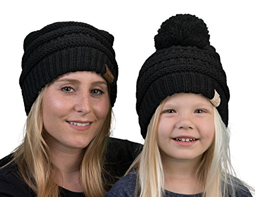 85dbec706b9 KP-6020a-06 Womens Beanie Kids Pompom Hat Matching Set Bundle (POM) - Black