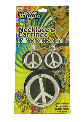 [Hippie Peace Sign Necklace and Earrings One-Size in Silver] (Necklaces And Earrings)