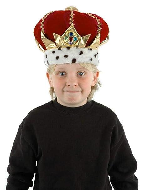 KING KINGS MONARCH Red Velvet Royal CROWN HAT Costume HEADGEAR HEADWEAR O//S New