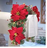 Solar Poinsettia Swag Holiday Mailbox Decoration