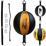 RDX Maya hide Leather Boxing Speed Bag MMA Double End Dodge Ball Punching Training Floor to Ceiling Rope Workout