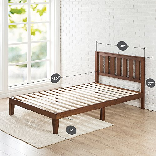 Zinus 12 Inch Wood Platform Bed with Headboard / No Box Spring Needed / Wood Slat Support / Antique Espresso Finish, Twin