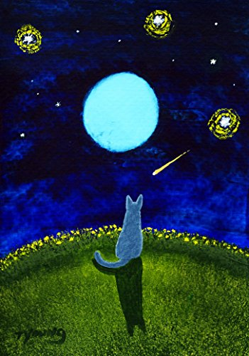 - Russian Blue Cat Folk Art PRINT by Todd Young STARRY SKY