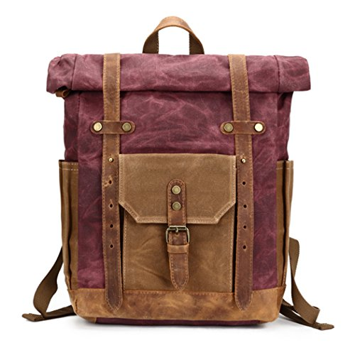 ack Commuter Backpack Waxed Canvas & Leather Laptop Backpack Work-to-weekend Travel Canvas Backpack Vintage Red ()