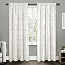 Exclusive Home Curtains Elle Heavyweight Floral Scroll Chenille Jacquard Room Darkening Rod Pocket Window Curtain Panel Pair, Winter White, 52x84
