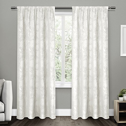 Exclusive Home Curtains Elle Heavyweight Floral Scroll Chenille Jacquard Room Darkening Rod Pocket Window Curtain Panel Pair, Winter White, 52x108 (Scroll Rod Pocket Curtain)