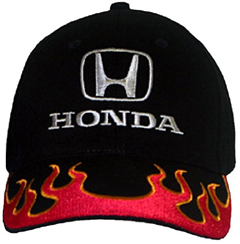 Honda Civic Hat (Honda Cap - Flames Fine Embroidered Adjustable Hat (Black/Red/Orange))