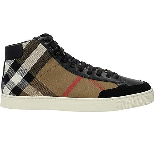 60b649b3fd Burberry Scarpe Sneaker Alte Stivaletto Uomo in Tessuto e Pelle ...