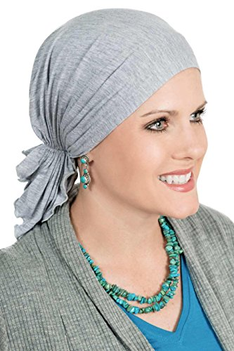 (Slip-On Scarf- Caps for Women with Chemo Cancer Hair Loss Grey Heather)