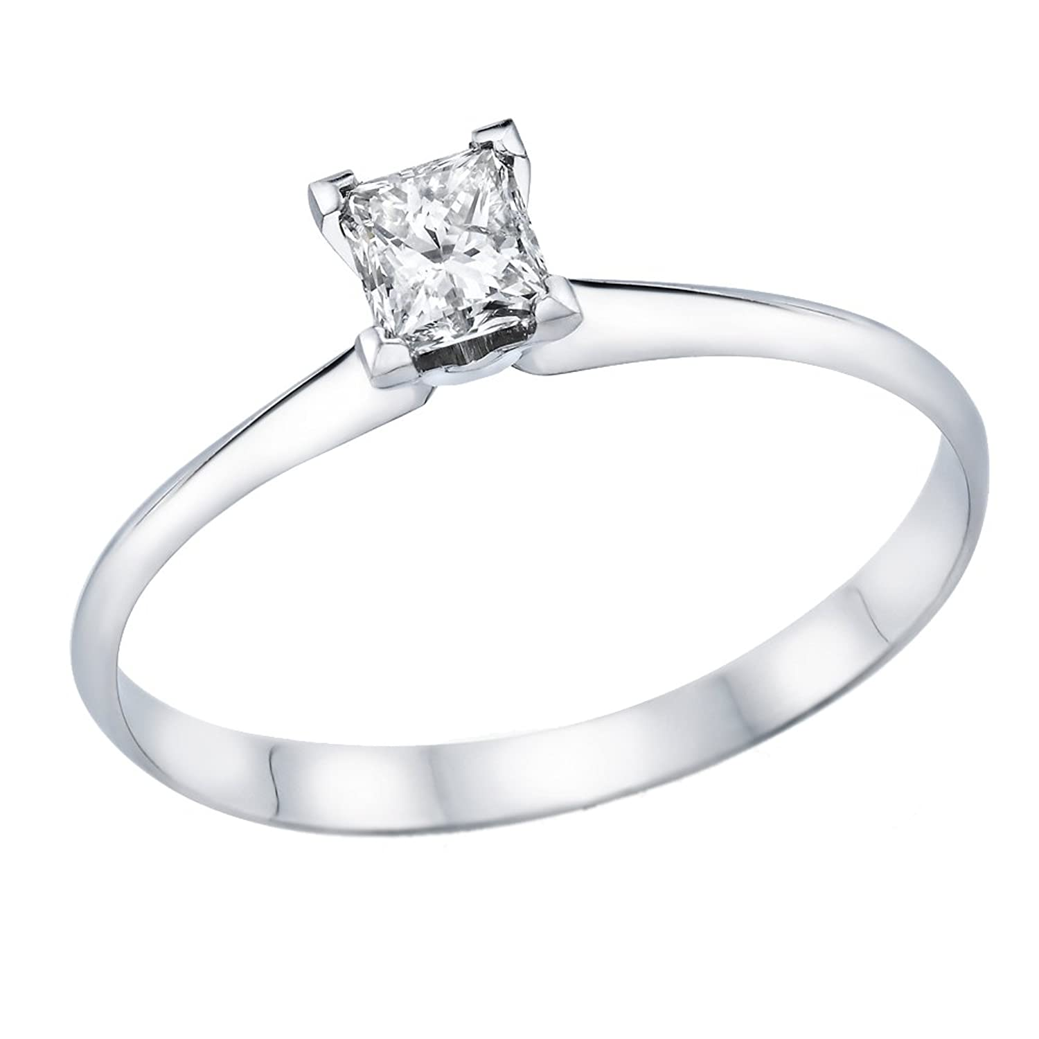 1/2 -1/5 ct Certified Diamond Engagement Ring in 14K White Gold (1/3 – 1/5 ct, L-M Color, I1-I2 Clarity)