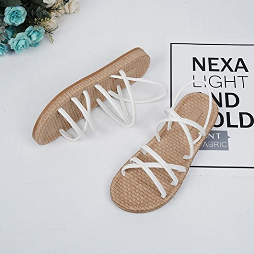 HUHU833 Women Bohemia Leisure Lady Sandals Flat Shoes Bandages Slippers White A WcMfF9xuI