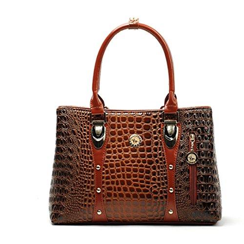Shiny Brown Stripe (Classical Ladies Crocodile Striped Pattern Handbag Brown About 35cm 24cm 13cm)