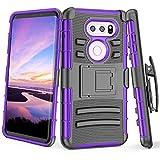 phone cases for a lg slide phone - LG V30 Case, LG V30 Plus Holster, TILL [Knight Armor] Heavy Duty Full-body Rugged Resilient Armor Defender Case Locking Secured [Belt Swivel Clip][Kickstand] Cover Shell For LG V30 / LG V30+ [Purple]