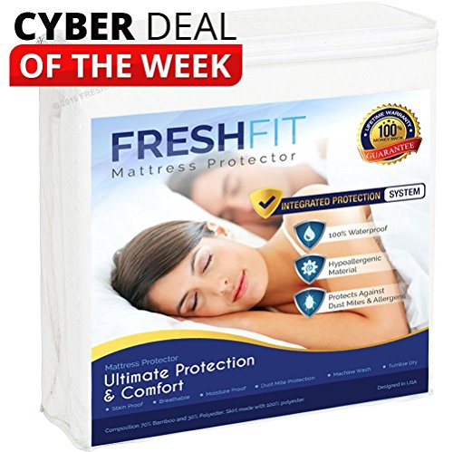 FreshFit Premium Waterproof Hypoallergenic noiseless Mattress Protector. Comfortable Vinyl Free Protection from dust Mites, allergens, Perspiration and Fluid Spills. Queen Size. Free Bonus Included.