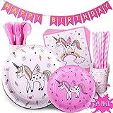 TRENDY BRANDY Children's Unicorn Party Supply Pack, 192 Piece Set Rainbow of Party Supplies Plus Happy Birthday Banner, Pink, Serves 24