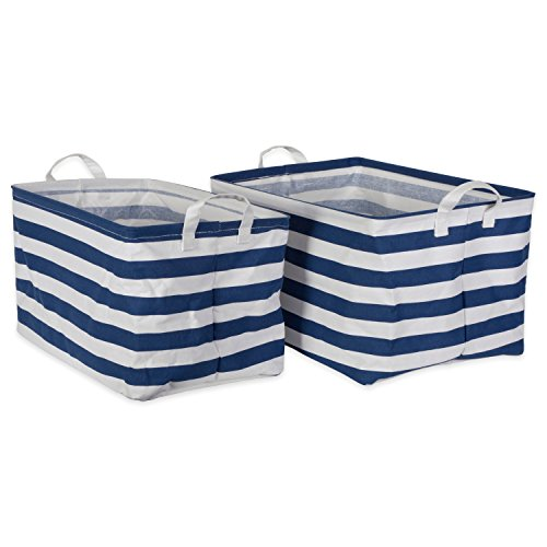 DII Cotton/Polyester Cube Laundry Basket, Perfect In Your Bedroom, Nursery, Dorm, Closet, 12.5 x 18 x 10.5, XL Set of 2 - Nautical Blue Rugby Stripe