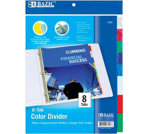 Bazic 3-Ring Binder Dividers with 8-Insertable Color Tabs (Case of 144) by Bazic