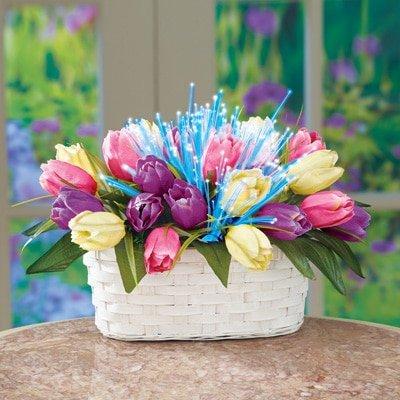 Fiber Optic Lighted Tulips Flowers Easter Spring Floral Basket (Wicker Basket Duck)