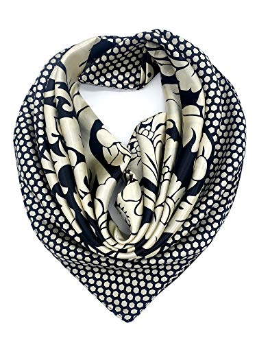YOUR SMILE Silk Feeling Scarf Women's Fashion Pattern Black Floral Large Square Satin Headscarf (315)