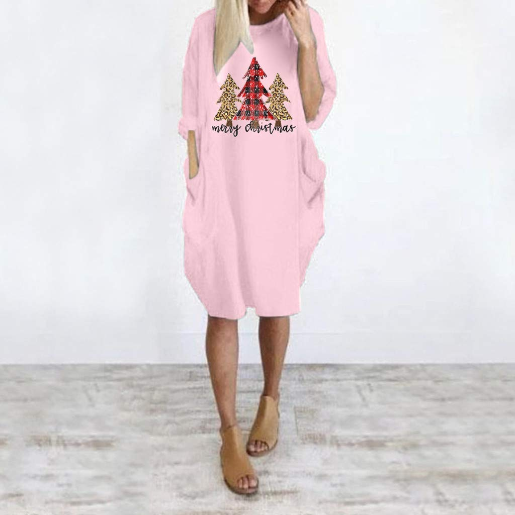 Fashion Loose Casual Flowy Christmas Print Dress Fall Winter Daily Pocket Shift Dress Lazapa Dress for Women Plus Size
