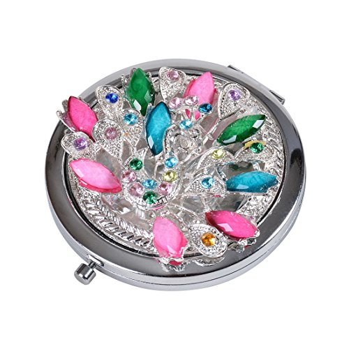 MICG Jeweled Peacock Round Compact Makeup Mirror Pocket Magnifying Purse Mirror for Travel and Cosmetic Mother`s day Gift (Jeweled Compact Mirror)