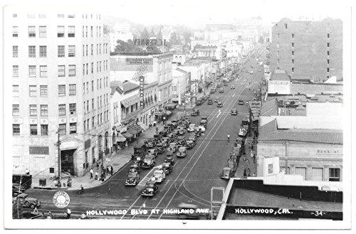 Real Photo Postcard Hollywood Blvd at Highland Avenue in Hollywood, - Blvd Hollywood Ca