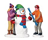 Snowman Skier Set of 2 Christmas Village Figurines
