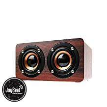 JoyBeat Portable Wireless Bluetooth Dual Stereo Speaker System Loud Bass Subwoofer HIFI Music Sound for Mobile Phone Notebook Laptop and Tablet support Handsfree Calls, TF Card - FM Radio - USB Charging - Graffiti, Black or Wood Design