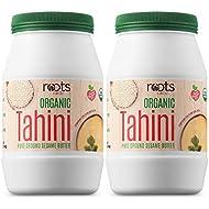 Roots Circle USDA Organic Tahini Paste | 100% Pure Creamy Ground Sesame Seed Paste for Hummus, Tahini Sauce & Dressing | Vegan, Kosher, Non-GMO, Gluten & Peanut-Free, Keto-Friendly (2 Jars 16 Oz)