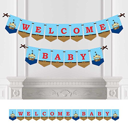 It's A-Boy Mates! Pirate - Baby Shower Bunting Banner - Blue Party Decorations - Welcome (Pirate Baby Shower)