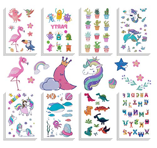 Summer Party Supplies Temporary Tattoos For Kids 300+ Pcs (25 Sheets) Waterproof Girls Boys Kids Tattoos For Birthday Party Supplies Children Party Favors Unicorn Dinosaur Cactus Flamingo And -