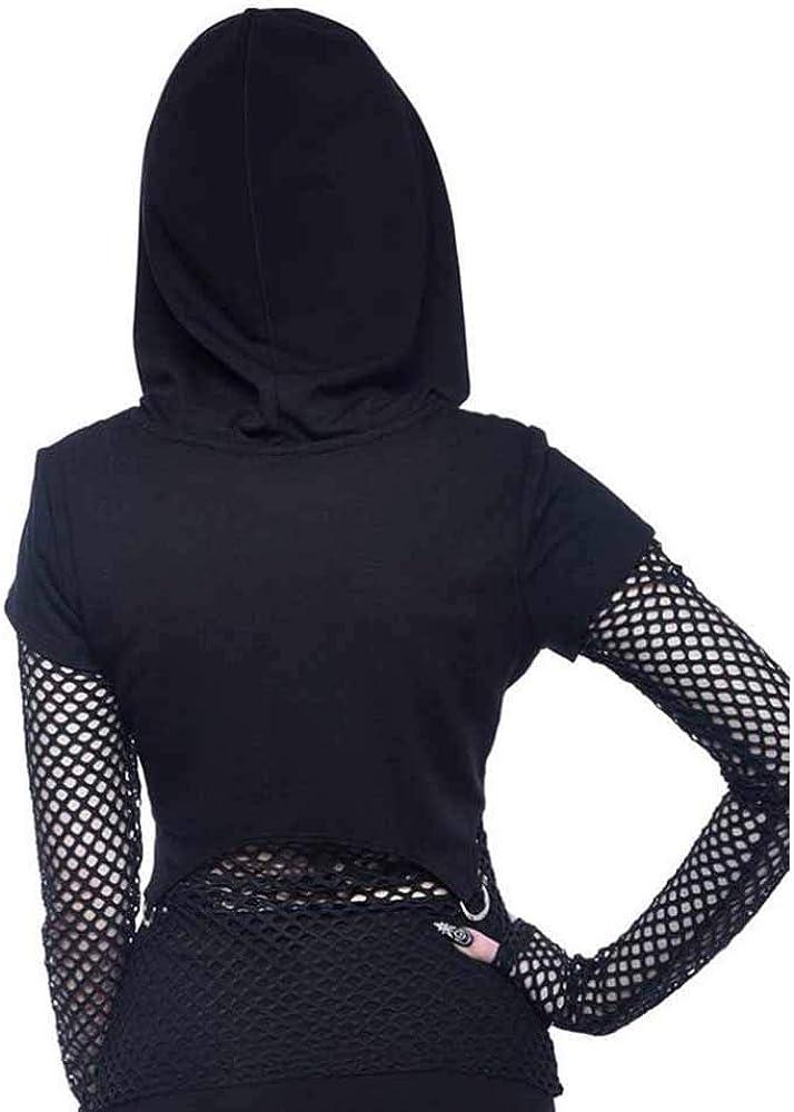 Babao Felpe Gotiche da Donna Felpe Crop in Metallo Felpe con Cappuccio in Stile Gotico