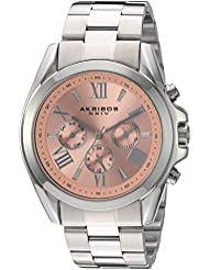 Akribos XXIV Womens Multi-Function Stainless Steel Case on Stainless Steel Bracelet and Pink Dial with Silver...